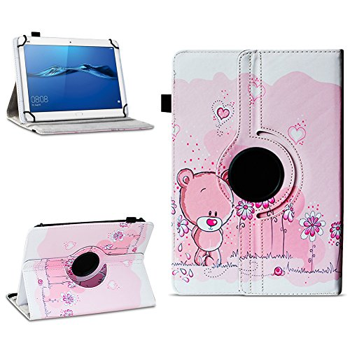 NAmobile Schutzhülle kompatibel für Huawei MediaPad T1 T2 T3 T5 10 Tablet Hülle Tasche Schutzhülle Hülle 360 Drehbar, Farben:Motiv 1
