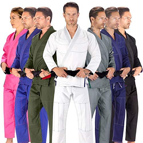 Elite Sports BJJ GI for Men IBJJF Kimono BJJ Jiu Jitsu Lightweight GIS W/Preshrunk Fabric & Free Belt (White, A0)