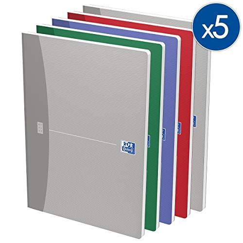 OXFORD 100100923 Broschiertes Buch Essentials 5er Pack mit 4 Farben A4 kariert 96 Blatt Soft Cover
