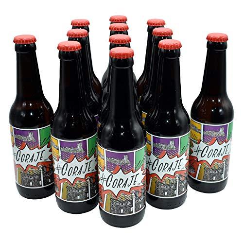 Cerveza Coraje lager estilo Pilsen. Cerveza artesanal Blanca y Verde. Caja degustación 12 unid. de 33 cl. Artesanal 100% natural. Producto de Cádiz. ✅