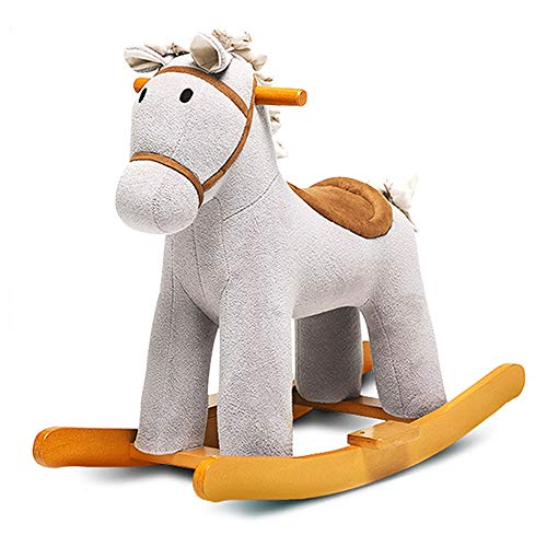 Rider Rocking Horse, Ride-on Toy with Friend Children's Soft Fabric Covered Wooden Rocker Adorable Neutral Design Fun