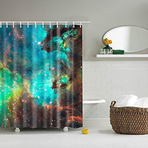 Dswe Cortina de Ducha Impermeable con Estampado Floral 3D Digital de Moda, Cortina de baño de Tela de poliéster Resistente al Moho, Cortina de baño