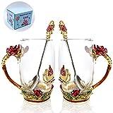 Tasse à thé en émail fleur, tasse à thé en verre rose rouge WRANKO avec cuillère, tasses à thé en émail sans leed faites à la main avec poignée, tasses à café, idées de cadeaux du festival, coffret cadeau pour mariage (12 oz, paquet de 2)