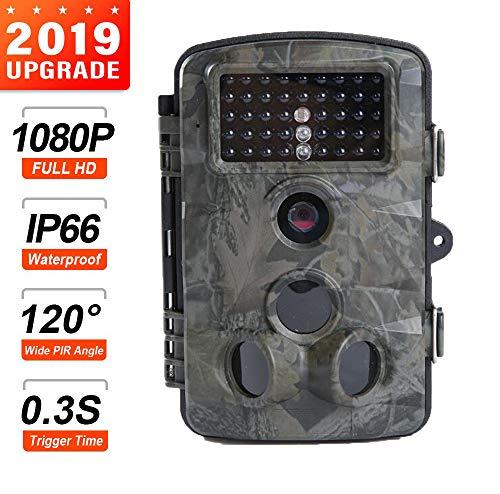 IKOWT Professionelle Wildkamerafalle Mit Infrarot-Nachtsicht - Jagdspiel Kameraüberwachung IP67 Wasserdichter 3-Zonen-Infrarotsensor 16MP 1080P HD