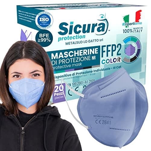 20x FFP2 Maske Lavendelblau CE Zertifiziert Filterklasse BFE ≥99% FFP2 Masken SANITIZIERTE Einzeln versiegelte ISO 13485 Atemschutzmaske CE Hergestellt verpackt in Italien