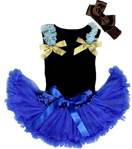 Petitebelle Prinses Jurk Zwart Shirt Blauw Baby Pettiskirt Set voor Meisje Nb-12m