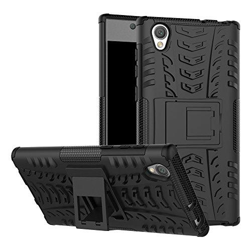 MAMA MOUTH Sony Xperia L1 Funda, Heavy Duty Silicona híbrida con Soporte Cáscara de Cubierta Protectora de Doble Capa Funda Caso para Sony Xperia L1 5,5' Smartphone (with 4 in 1 Packaged),Negro