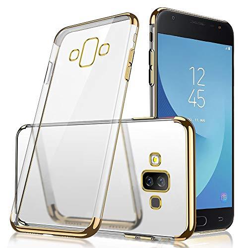 QPOLLY Kompatibel mit Samsung Galaxy J7 Duo Hülle Glänzend Kristall klar Silikon TPU Schutzhülle Überzug TPU Durchsichtig Handy Tasche Ultra Dünn Soft Silikon Handyhülle Case,Gold
