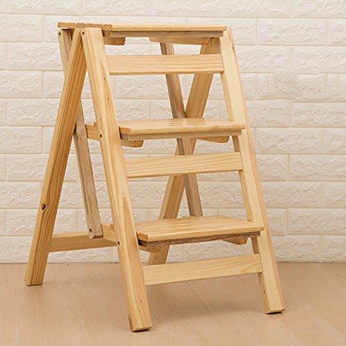 ZhuFengshop opstapkruk massief hout, opvouwbare ladderrek 3 stap-bloemenstandaard huishouden multifunctioneel Ascend Ladder kleine ladder keuken, bibliotheek