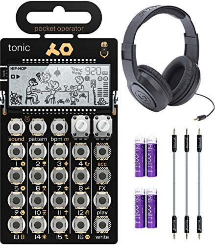 Teenage Engineering PO-32 Pocket Operator Tonic Drum Synth Bundle with Samson SR350 Over-Ear Stereo Headphones, Blucoil 3-Pack of 7' Audio Aux Cables, and 4 AAA Batteries
