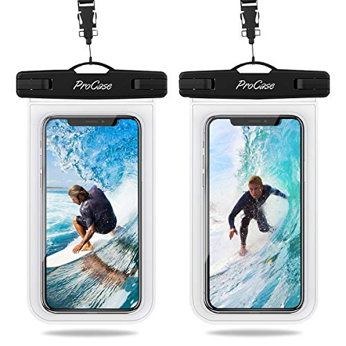 Procase 2 Bolsas Impermeables Universales para iPhone 12 Series/iPhone SE 2020/XS Max/XR/X/8/7+/6S/6S+, Galaxy S20/S20+/S20 Ultra 5G/S10/S10e/S9/S9+/Note8, Huawei Xiaomi LG BQ...