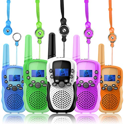 Wishouse Wearable Real Walkie Talkies for Kids Long Range 5 Pack, Family 2 Way Radio with Flashlight, Girls Boys Outdoor Camping Games Toys Halloween Cosplay Xmas Birthday Gift for Children