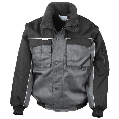 Result Mens Workguard Zip Sleeve Heavy Duty Water Repellent Windproof Jacket XL GreyBlack