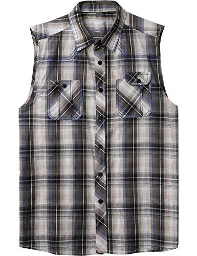 Ma Croix Mens Sleeveless Plaid Flannel Shirt (1ak01_Khaki, 4X-Large)