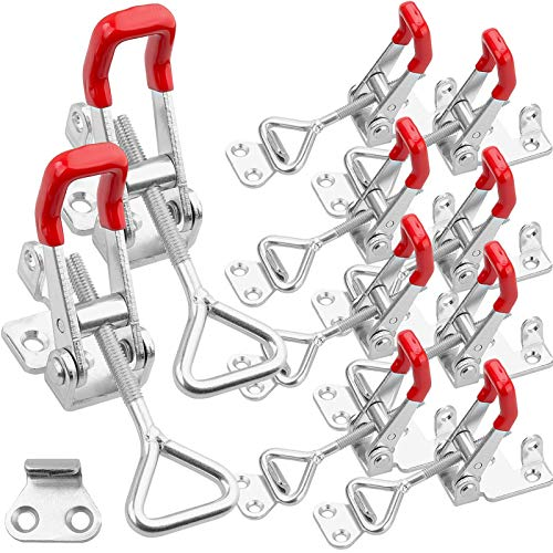 10 Pack Adjustable Toggle Clamp, 550 lbs Holding Capacity Toggle Latch Hasp Clamp GH-4002 Lockable Quick Release Pull Latch for Door, Box Case Trunk, Smoker Lid, Jig