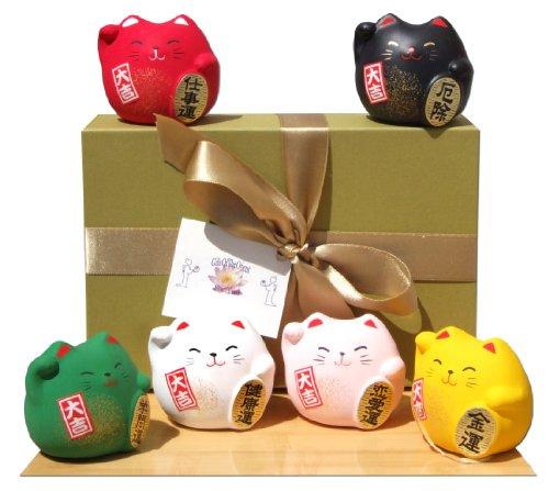 Caja de regalo - Maneki Neko gatos afortunados japoneses seis asaltos