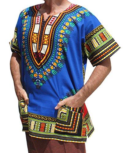 RaanPahMuang Unisex African Bright Dashiki Cotton Shirt Variety Colors, X-Large, Iris Blue