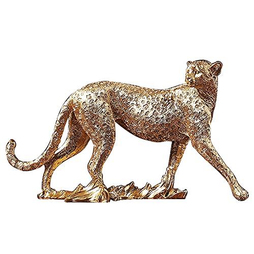 Realista Guepardo Figura,Dorado Polyresin Leopardo Estatuilla Estatuas,Antiguo Animales Salvajes Escultura Para Salón...