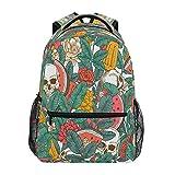Mochila con diseño de calavera, diseño de flores de rosas y sandía, bolsa de gran capacidad, casual, mochila de escuela, viajes, senderismo, para mujeres y hombres