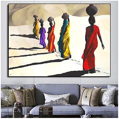 BFSA Mujer Africana Caminando en el Desierto Pintura Lienzo Carteles e Impresiones Lienzo escandinavo Cuadro de Pared para decoración de Sala de Estar
