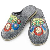 Absoft - Pantuflas para mujer de 100% fieltro con bordado floral, color Gris, talla 40 EU