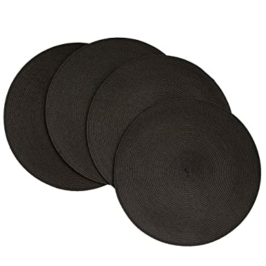 Benson Mills Victorian 15-Inch Round Placemats, Black, Set of 4