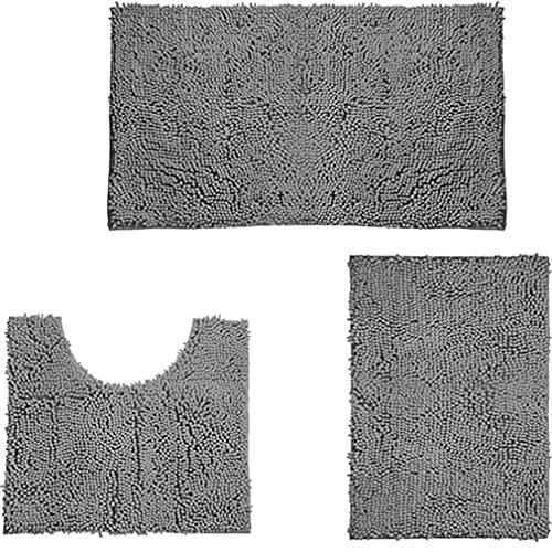 MYWA 3 Stück Rutschfester Badezimmerteppich 50X80cm Dicke,Waschbar Badeteppich Set zum Badteppich aus Mikrofaser Verwendet in Bad, WC, Küche Gray