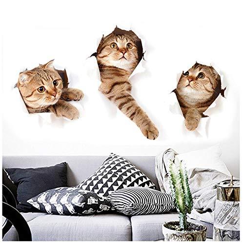 MINGKK - Juego de 3 pegatinas para pared en 3D, divertidas pegatinas de gato para habitación infantil, dormitorio, baño, nevera, arte resistente al agua
