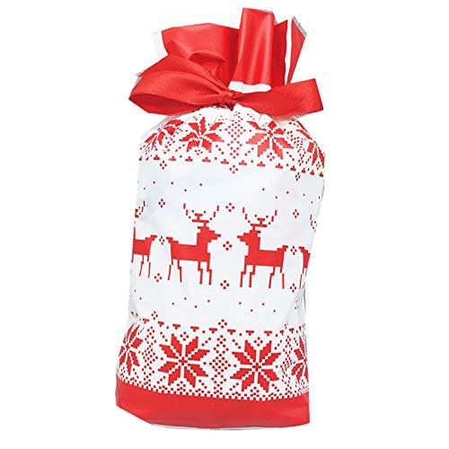 Fransande - 50 bolsas de regalo para árbol de Navidad, bolsa de Santa impresa, bolsa de embalaje de plástico, color rojo (Wapiti)