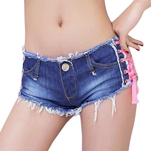 QIYUN.Z Correas Laterales Bajas De La Mujer Mini Shorts De Mezclilla Club Destruyó Jeans Rotos