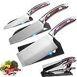Home Safety Juego de Cuchillos de Cocina 3 Piezas, Juego de Cuchillo cocinero profesional, Diseño ergonómico, Cuchillo chino, cuchillo de chef, cuchillo de frutas Acero inoxidable afilado