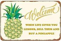 ブリキのロゴレモンを売ってパイナップルバーを買ってくれレトロな壁画8×12インチレトロな壁パネル屋外に金属壁を飾ってくれ