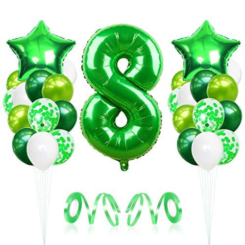 8 Globos de Cumpleaños, Globo 8 Año, Globo Numero 8, Decoracion Cumpleaños Niño, Globos Grandes Gigantes Helio Verde, Globos para Fiestas de Cumpleaños
