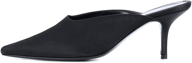 QIDI Sandals Female Rubber Fashion Black Summer Pointed High Heels (Size   EU36 UK4)