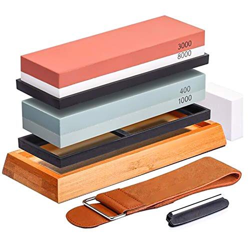 Knife Sharpening Stone Set - CHIVENIDO Wet Stone Sharpening Kit, 3000/8000 400/1000 Knife Sharpener Stone, Premium Grit Whetstone with Bamboo Base, Flattening Stone, Angle Guide, Razor Strop