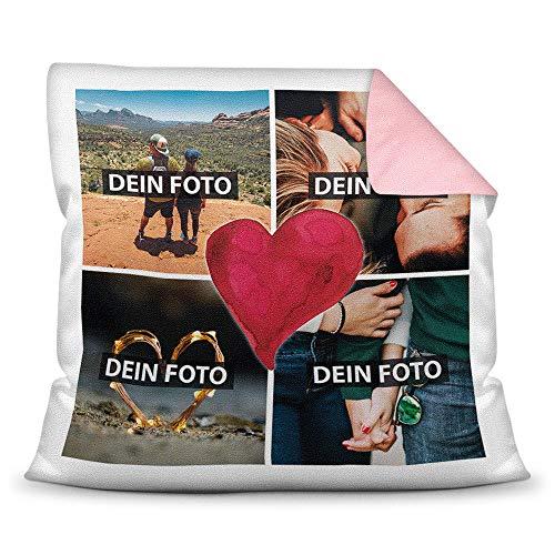 Print Royal Foto-Kissen inkl. Füllung zum Selbstgestalten - mit eigener Collage Bedruckt - Liebe/Familie/Foto-Geschenk/Deko-Kissen/ 40x40 - Rückseite Rosa