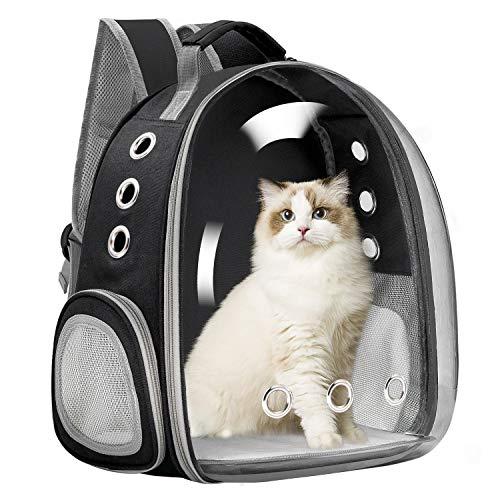 Vailge Haustier Hunde Katzen Rucksack Raumkapsel, Tragbar Transportrucksack Transporttasche für Haustiere Reisen Atmungsaktive Kapsel Rucksack für Katzen Kleine Hunde(Schwarz)