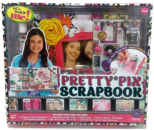 1 Set of Pretty Pix Scrapbook Set Kit with Sticker Sheets Gemstones Pen Glue