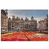 Bruselas Bélgica Flores Alfombra Grand Place Pintura Lienzo Arte de la Pared Posters Imagen Decoración Pintura Sala de Estar Impresión en Lienzo 50x70cm sin Marco