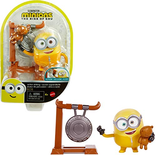 Minions: Rise of Gru Bob Button Activated Action Figure Approx 4-in with Gong & Teddy Bear Accessories, Gift for Kids Ages 4 Years & Older