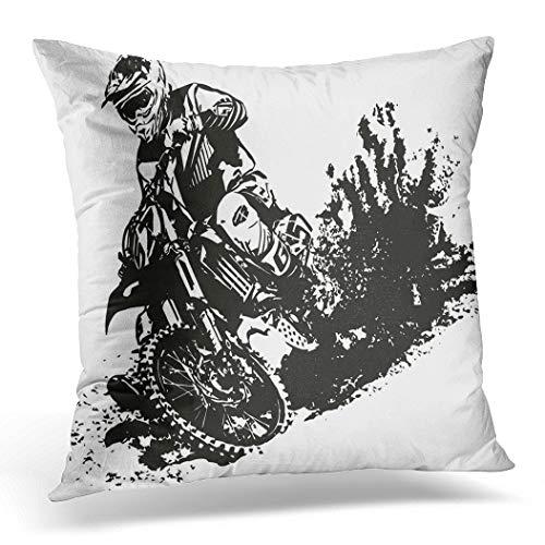 Topyee Funda de cojín para Bicicleta o Motocross, 45 x 45 cm, decoración del hogar, Funda de Almohada Cuadrada para sofá Cama