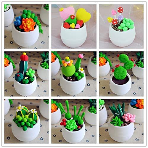 Frmarche Magique DIY Argile de Modélisation Ultra-léger Jouet Créatif DIY Plante en Pot Faits à la Main (f)
