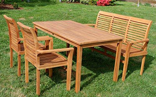 ASS Teak Set: Gartengarnitur Gartentisch 150x80 cm + 1 Bank 150 cm für 3 Personen + 2 Sessel Serie JAV-Alpen - 2