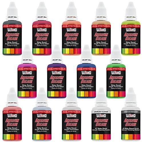 U.S. Art Supply 12 Color Pearlized Acrylic Airbrush, Leather & Shoe Paint Set; Pearl Colors Plus Reducer & Cleaner 1 oz. Bottles