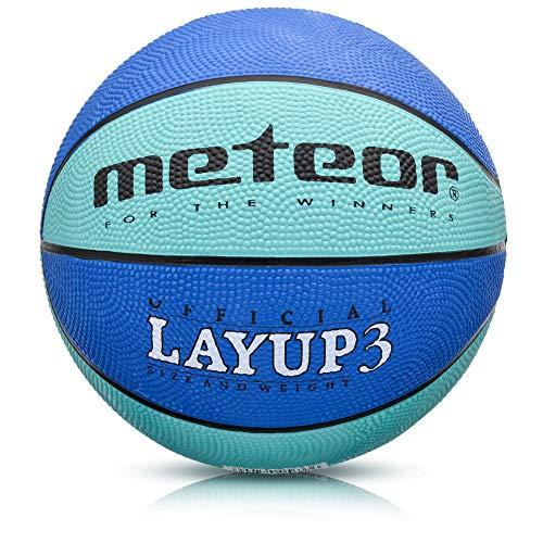 meteor® Layup Mini Basketball fur Kinder Größe #3 ideal auf die Kinderhände von 4-8 Jährigen abgestimmt idealer Jugend Basketball für Ausbildung weicher Basketball (Blau - Größe #3)