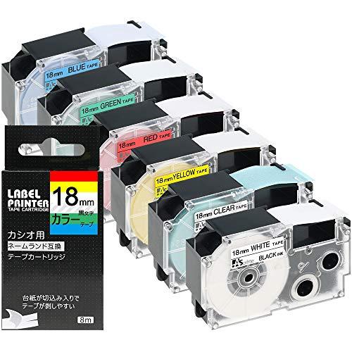 18mm 互換 カシオ ネームランド テープ カートリッジ CASIO NAMELAND XR-18X XR-18WE XR-18RD XR-18BU XR-18YW XR-18GN 黒文字 透明 強粘着 6色の1セット ASprinte
