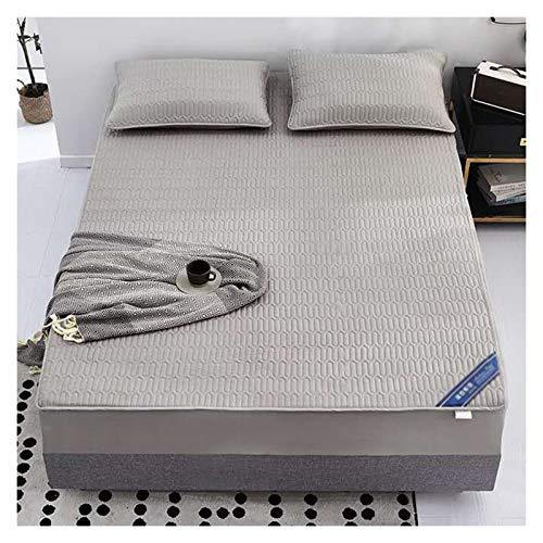 LJP Quilted Mattress Cover Cotton Breathable Mattress Encasement Machine Washable Fade Resistant Bed Cover (30cm Deep) (Color : Gray, Size : 180x200cm)