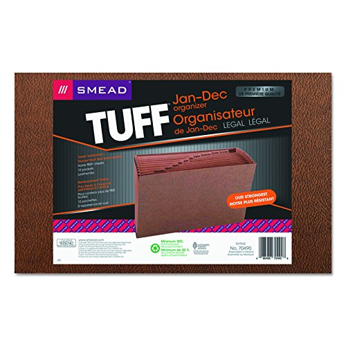 Smead TUFF Expanding File, 12 Pockets, Monthly (Jan.-Dec.) Legal Size, Redrope (70490)