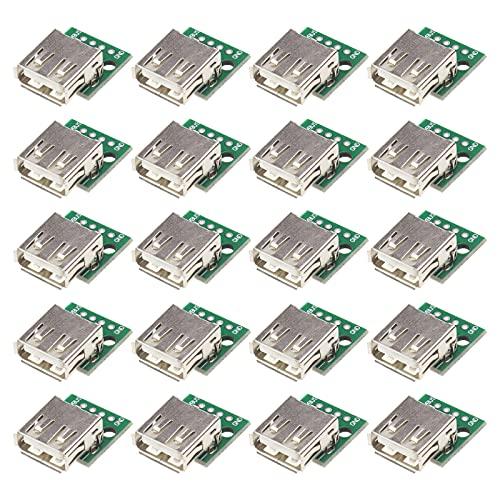 20 unidades USB 2.0 a tarjeta adaptador Dip de 4 pines, paso de 2,5 mm, soldado para cable de datos de teléfono móvil.
