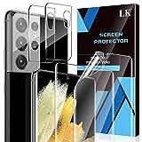 LK Compatible con Samsung Galaxy S21 Ultra 5G Protector de Pantalla,2 Pack Protector Pantalla y 2 Pack de Película Protectora de Pantalla para Cámara, Película Protectora de TPU,Doble Protección